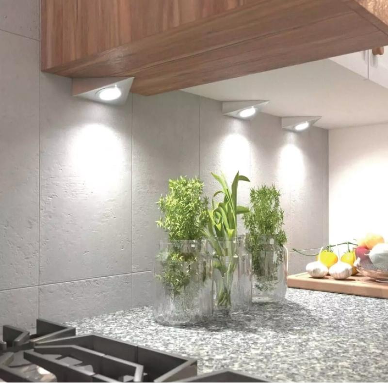 inverted triangle kitchen under cabinet lighting