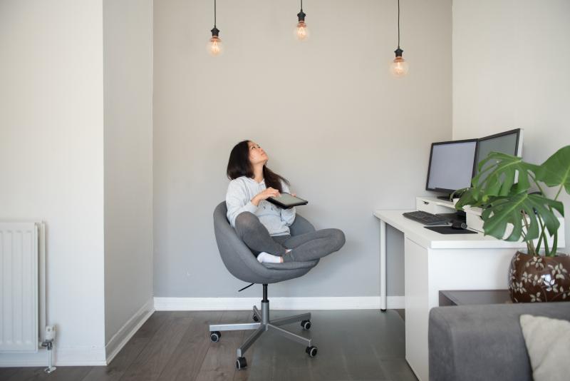 Improving Home Lighting - Girl in her home office