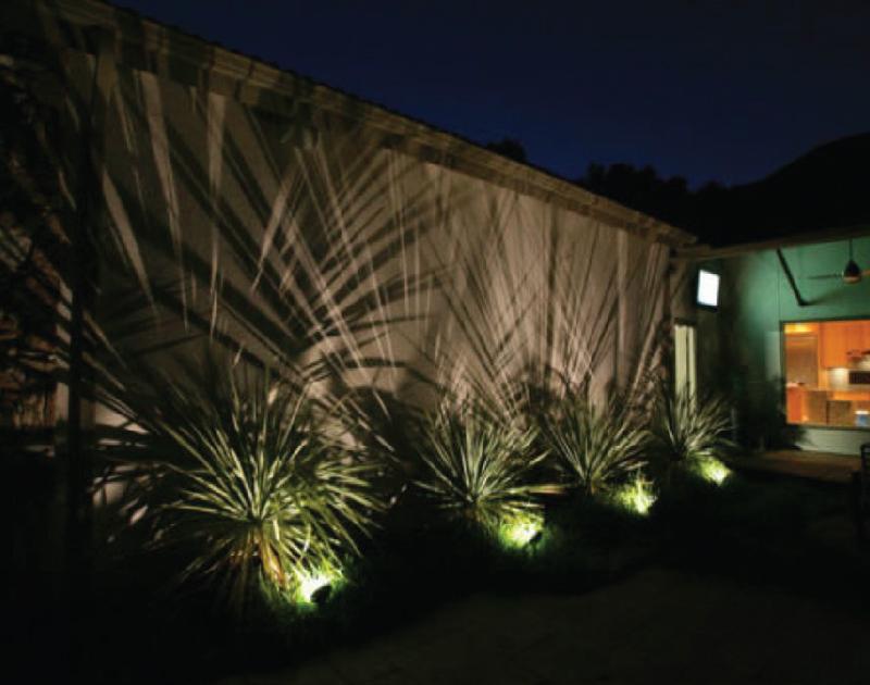 Garden Wall with Spike Lights
