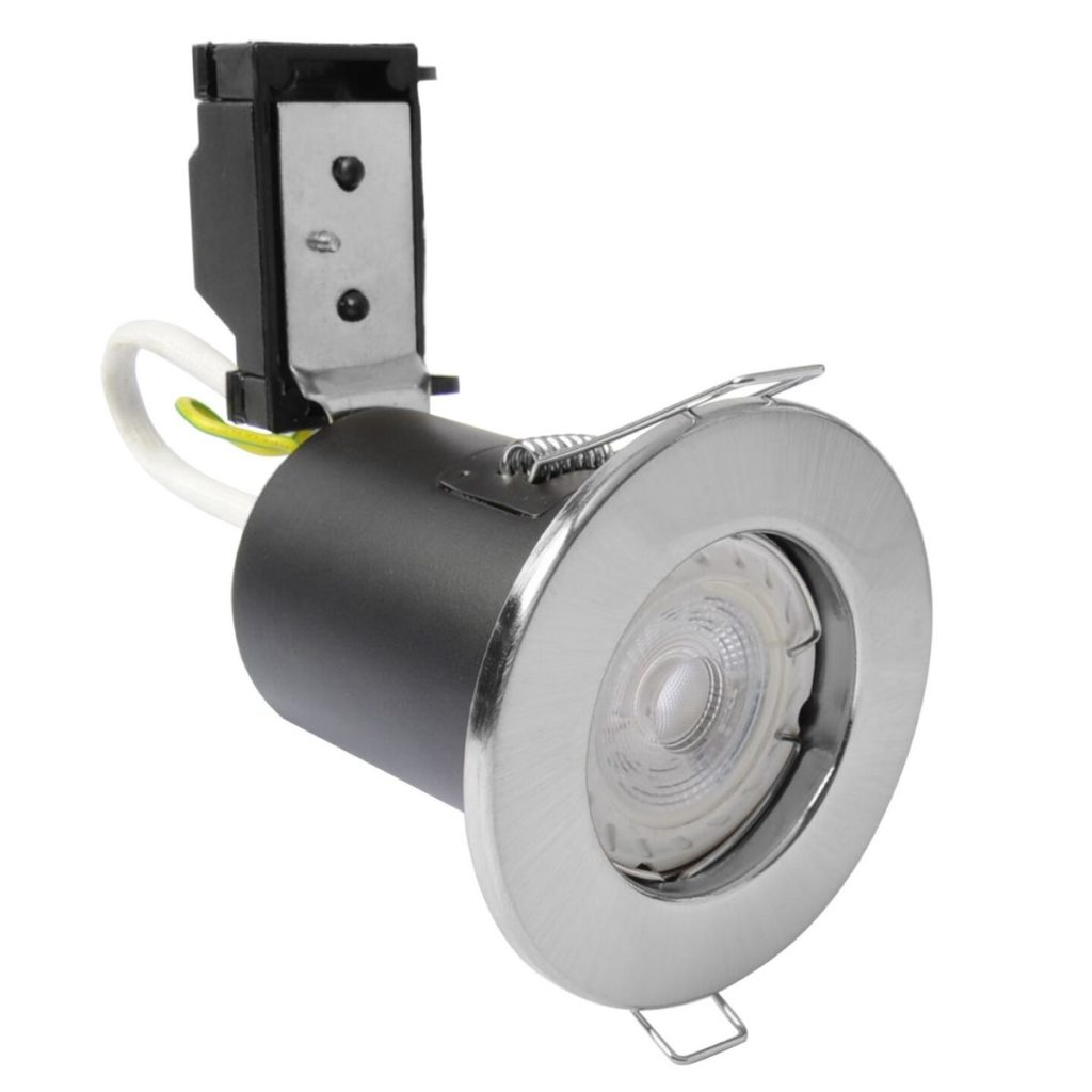 Brushed Chrome, Fire Rated Downlight With LED Gu10