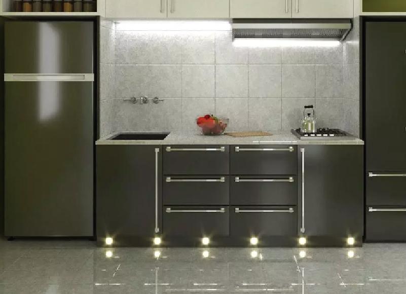 Modern Kitchen with Plinth Lights - Natural White