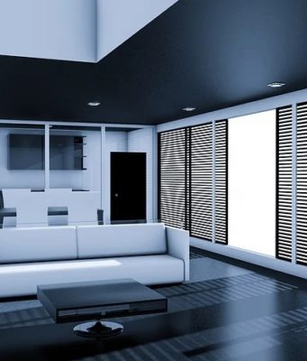 Living room with led lights