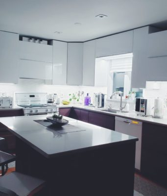 kitchen with under cabinet lighting
