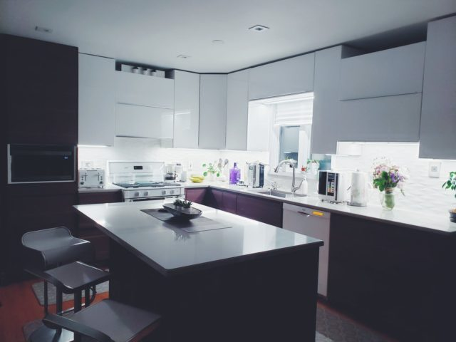kitchen with under cabinet lighting