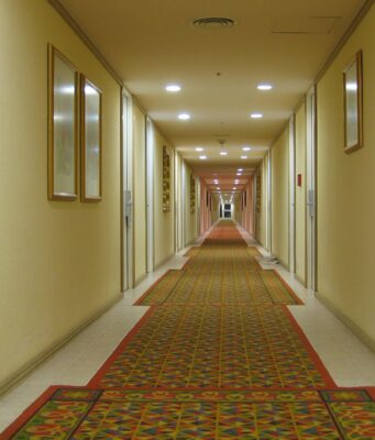 downlights on the hall