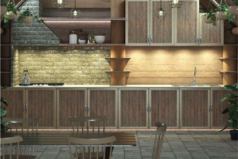 Kitchen Wooden Design with Under Cabinet Lighting