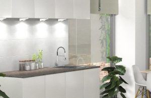 Beautiful White Kitchen with Simple Lighting's Under Cabinet Lighting