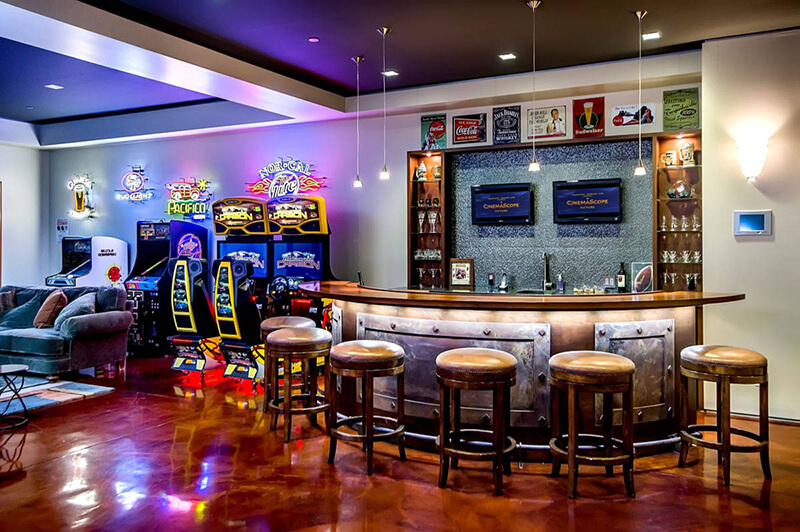 Bar lit with LED Lighting and downlights in Man Cave