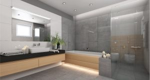 Image of a bathroom with wooden cabinets and led downlights and strip lights