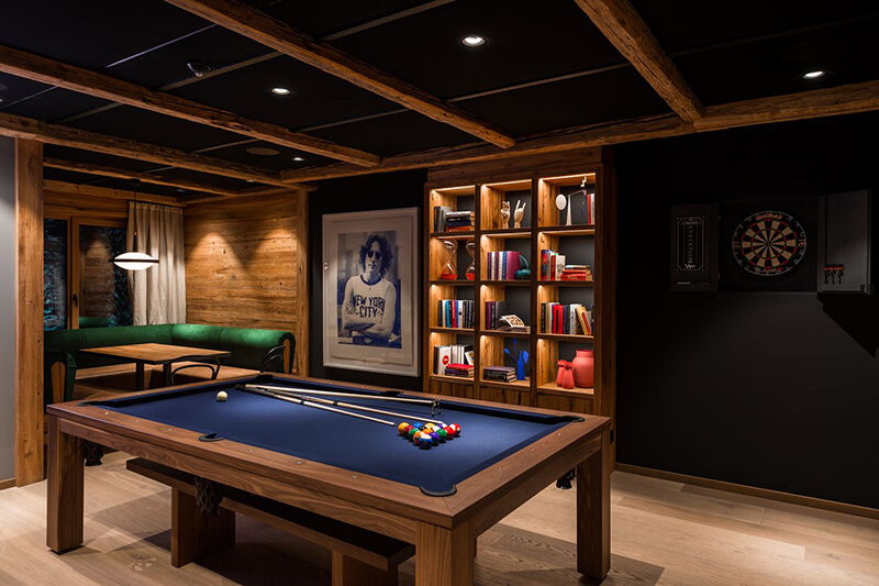Pool Table and LED Lit book cases in Man Cave