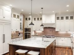 kitchen with white LED lights